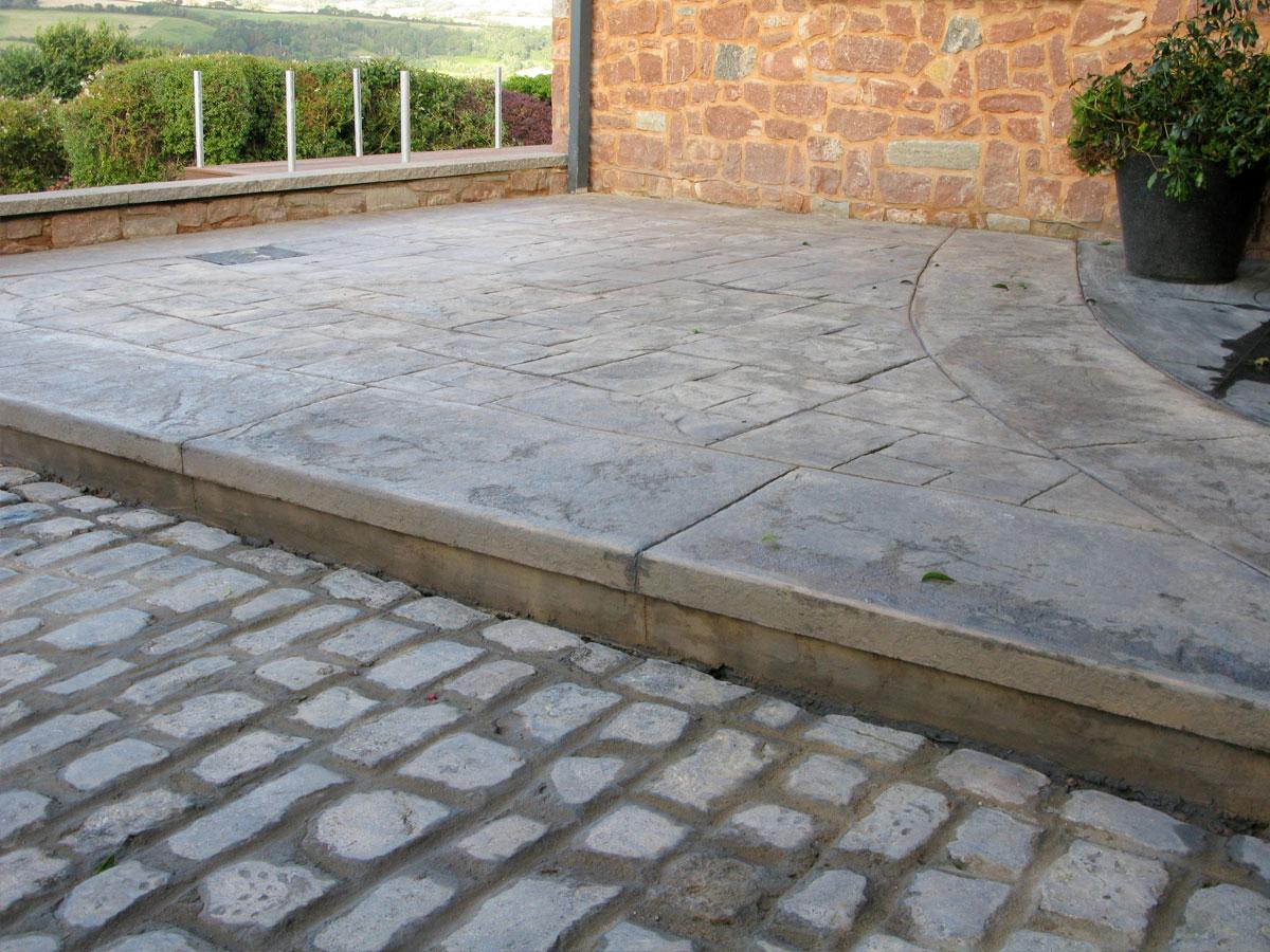 concrete paving and cobbles
