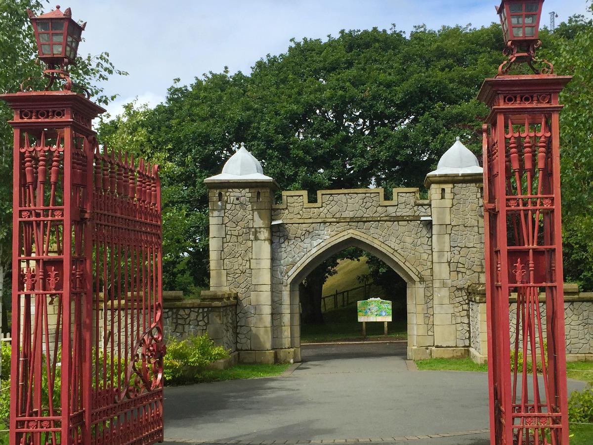Imprinted concrete castle gate