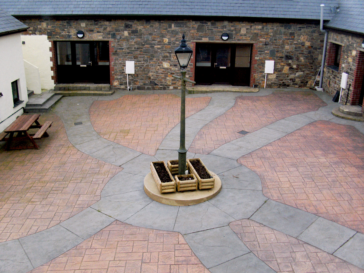 Imprinted Concrete Paved Courtyard